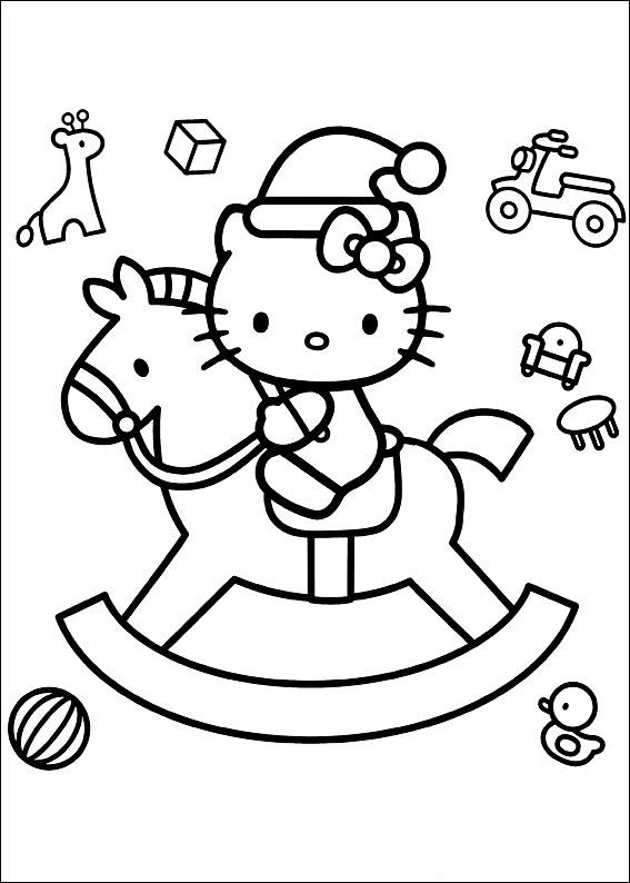 Wooden Horse Hello Kitty Coloring Hello Kitty Colouring Pages Hello Kitty Printables