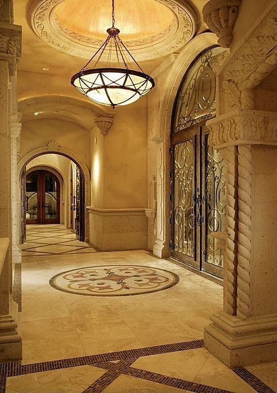 Foyer Art Deco : Art deco entryway with castle in honed