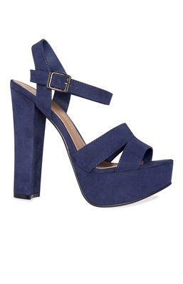 Tienda online Venta barata zapatos de otoño Zapatos de tacón con plataforma azul marino | Tacones azules ...