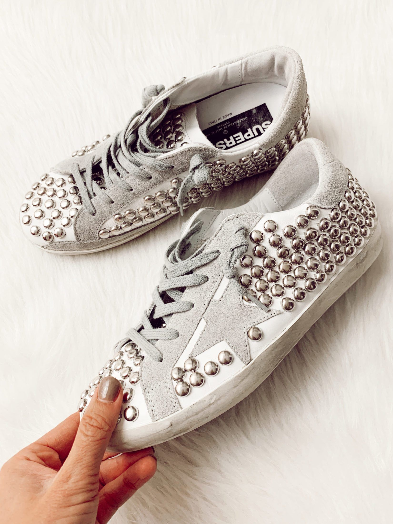How I Use Ebay To Shop Golden Goose Sneakers The Real Fashionista Golden Goose Sneakers Outfit Golden Goose Sneakers Studded Sneakers