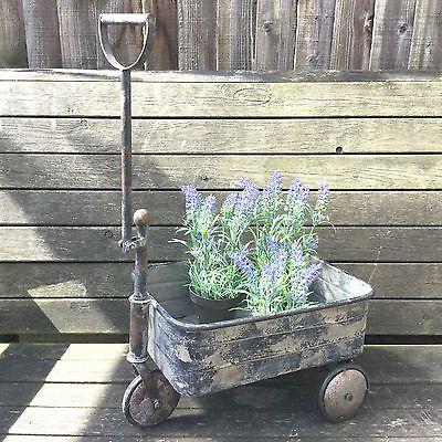 Antique Vintage Style Metal Garden Cart Trolley Plant Stand Garden Patio  Planter