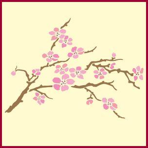 Cherry Blossom Stencil Cherry Blossom Stencils Japanese Stencil Designs Flower Stencil Stencil Designs Tree Stencil
