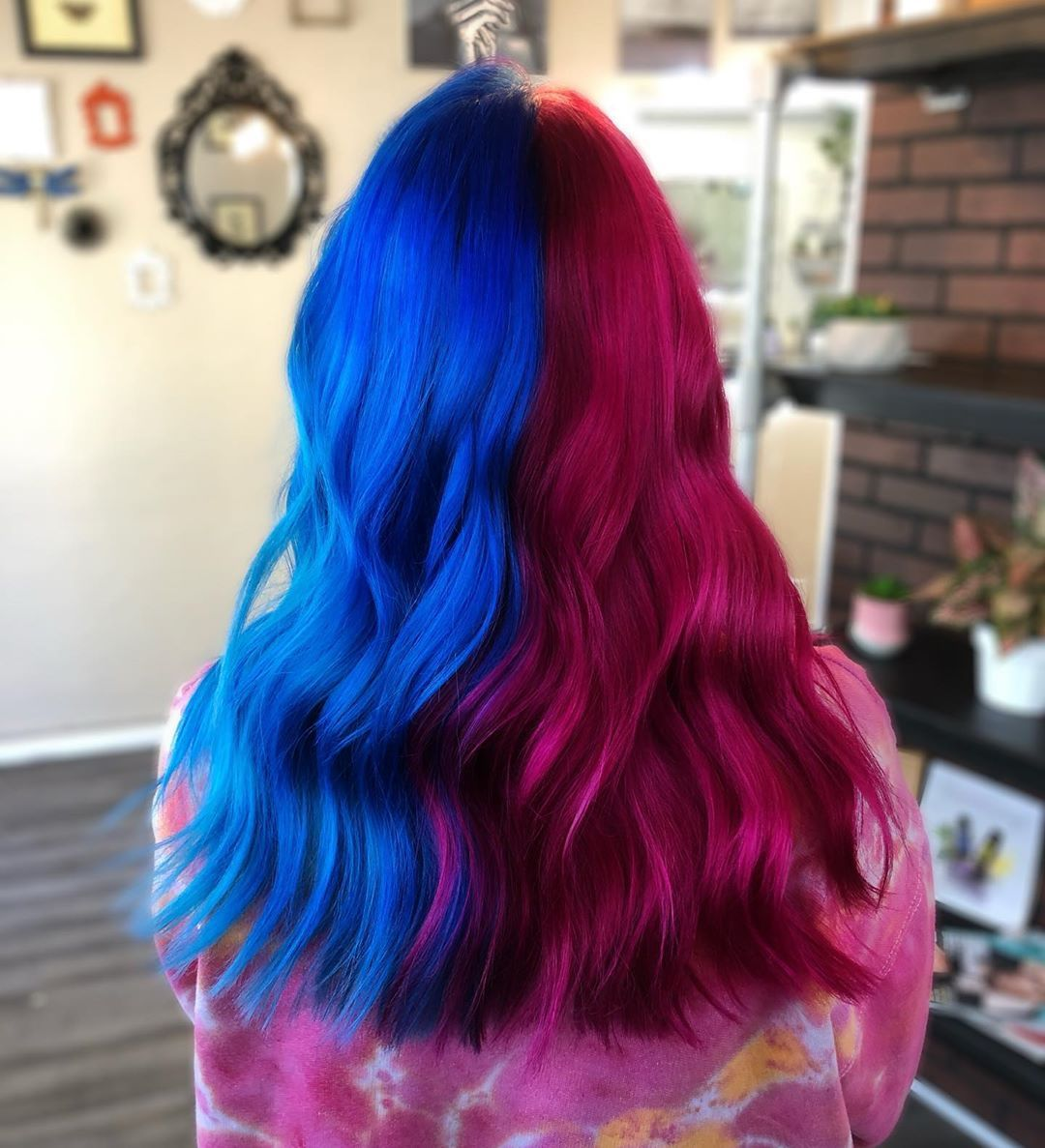 Pink Blue Split Split Dyed Hair Two Color Hair Bright Hair Colors