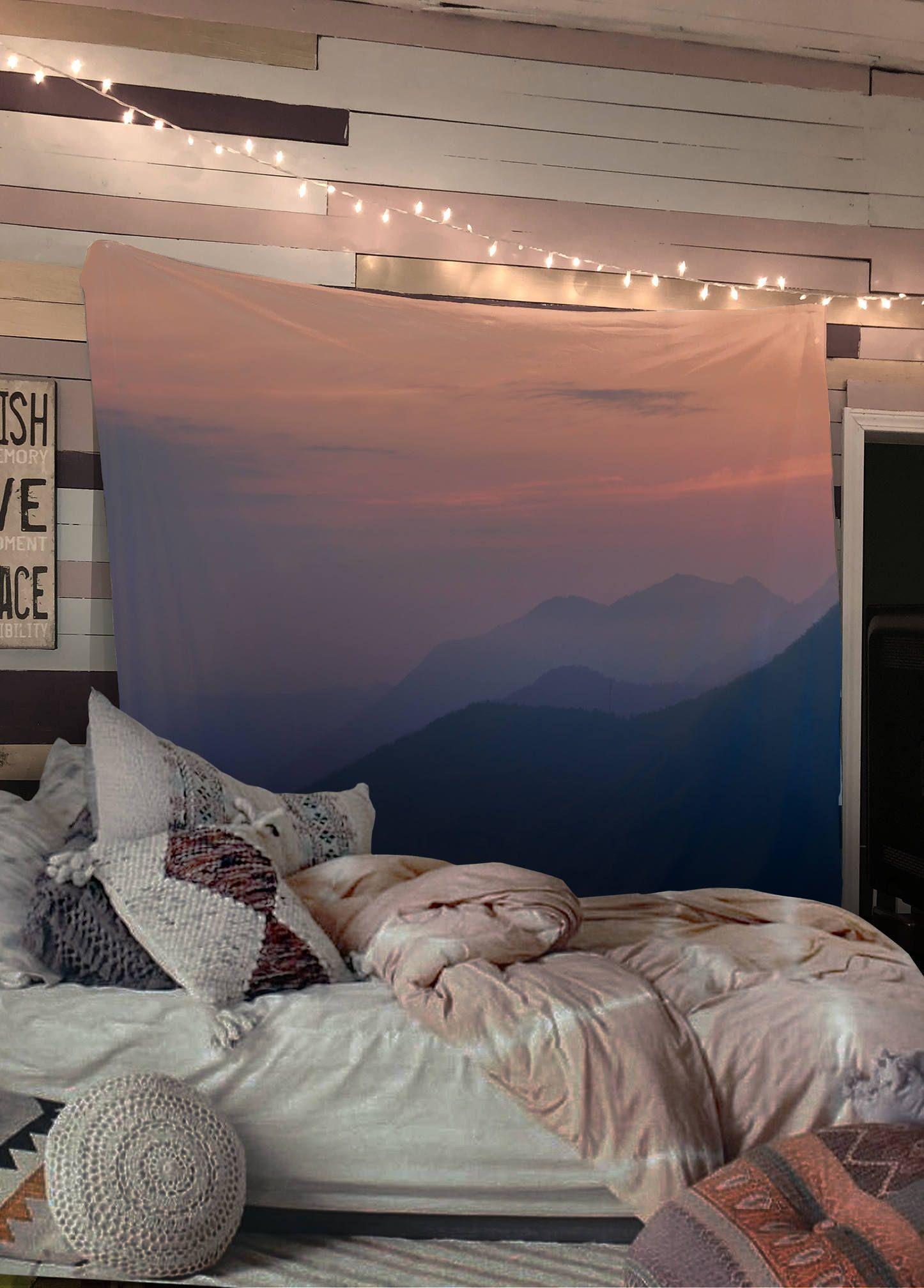 Mountain Sunset Wall Tapestry Blue Gray Yoga Meditation