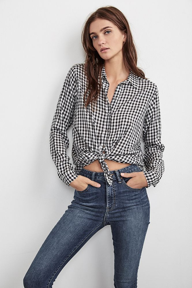 Cheap Best Prices Factory Sale Velvet By Graham & Spencer Woman Cold-shoulder Gingham Woven Top Blue Size S Velvet From China Sale Online Real Online Discounts Sale Online YN6ApW