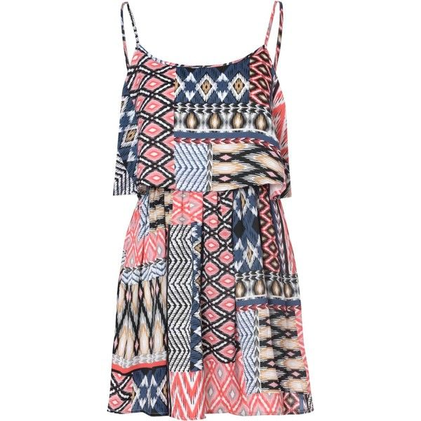 Red And Navy Overlay Dress With Aztec Print (145 ILS) ❤ liked on Polyvore featuring dresses, multi, aztec print dress, spaghetti strap cami, navy camisole, red camisole and layering cami