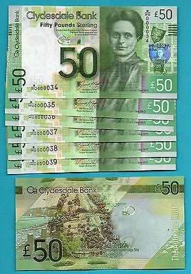 Scotland Clydesdale Bank Brand New 50 Notes Very