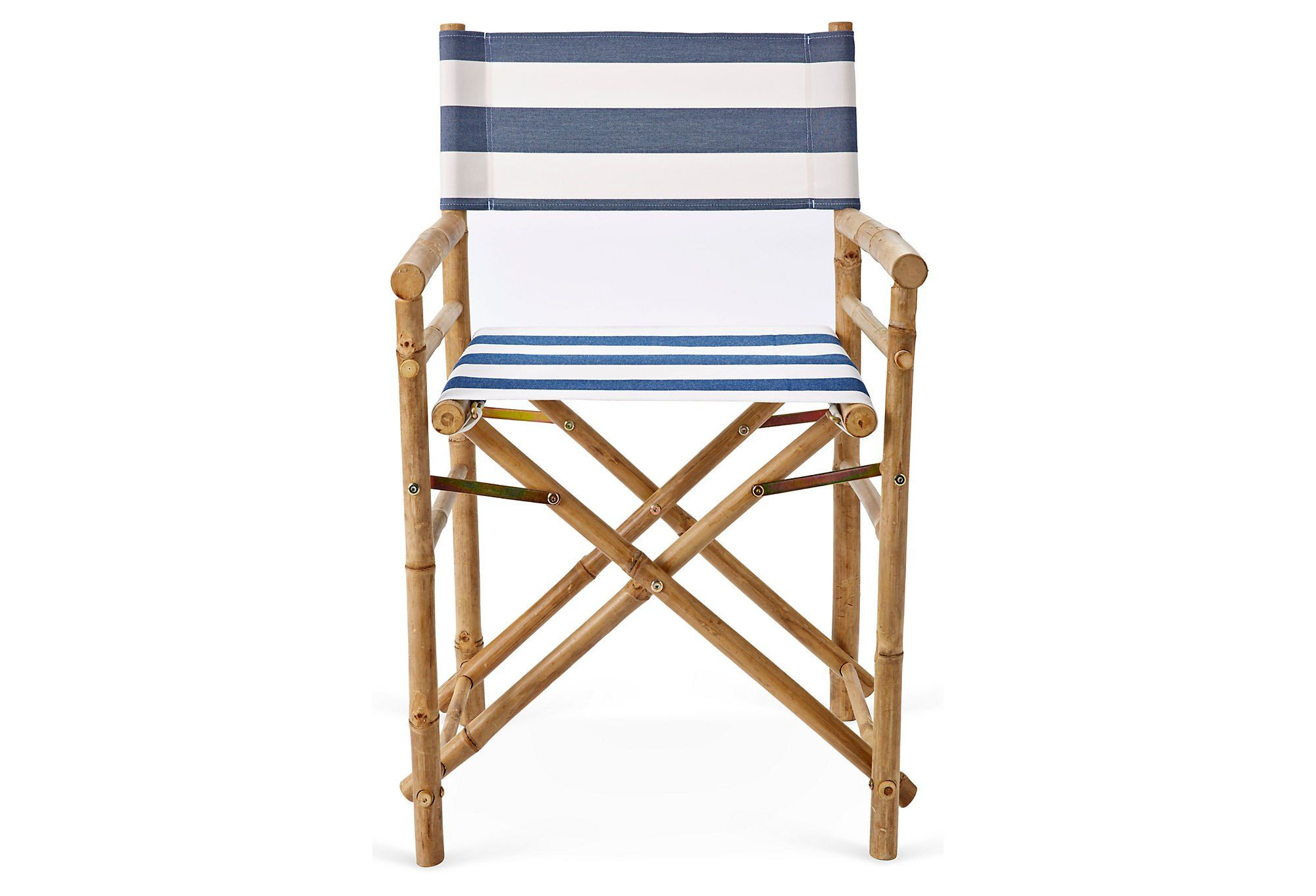 Zero Emission World Bamboo Director Chair, Navy and White