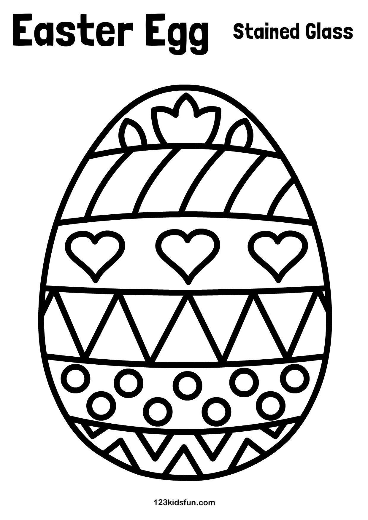Free Easter Printables For Kids Easter Egg Paper Stained Glass Kids Craft 123kidsfu Easter Coloring Pages Easter Printables Free Easter Egg Coloring Pages [ 1754 x 1240 Pixel ]