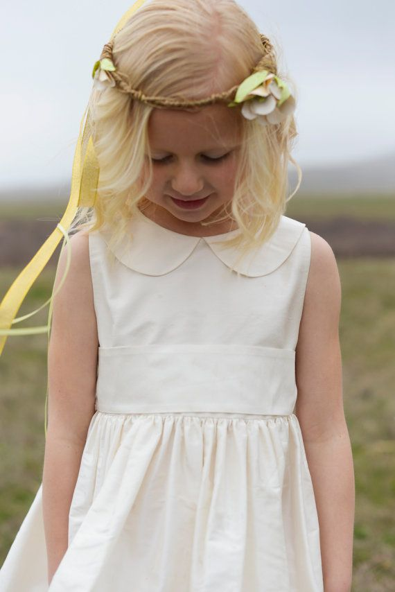 b6dc455f041 Pure silk Flower Girl Dress - Peter Pan Collar in many colours on Etsy