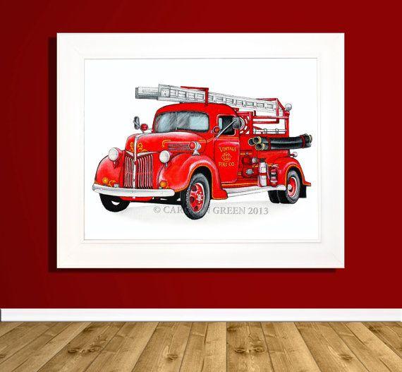 Vintage Fire Truck, Fire Engine, Fire Truck, Red Truck, Boys Room, Nursery Decor, Children's