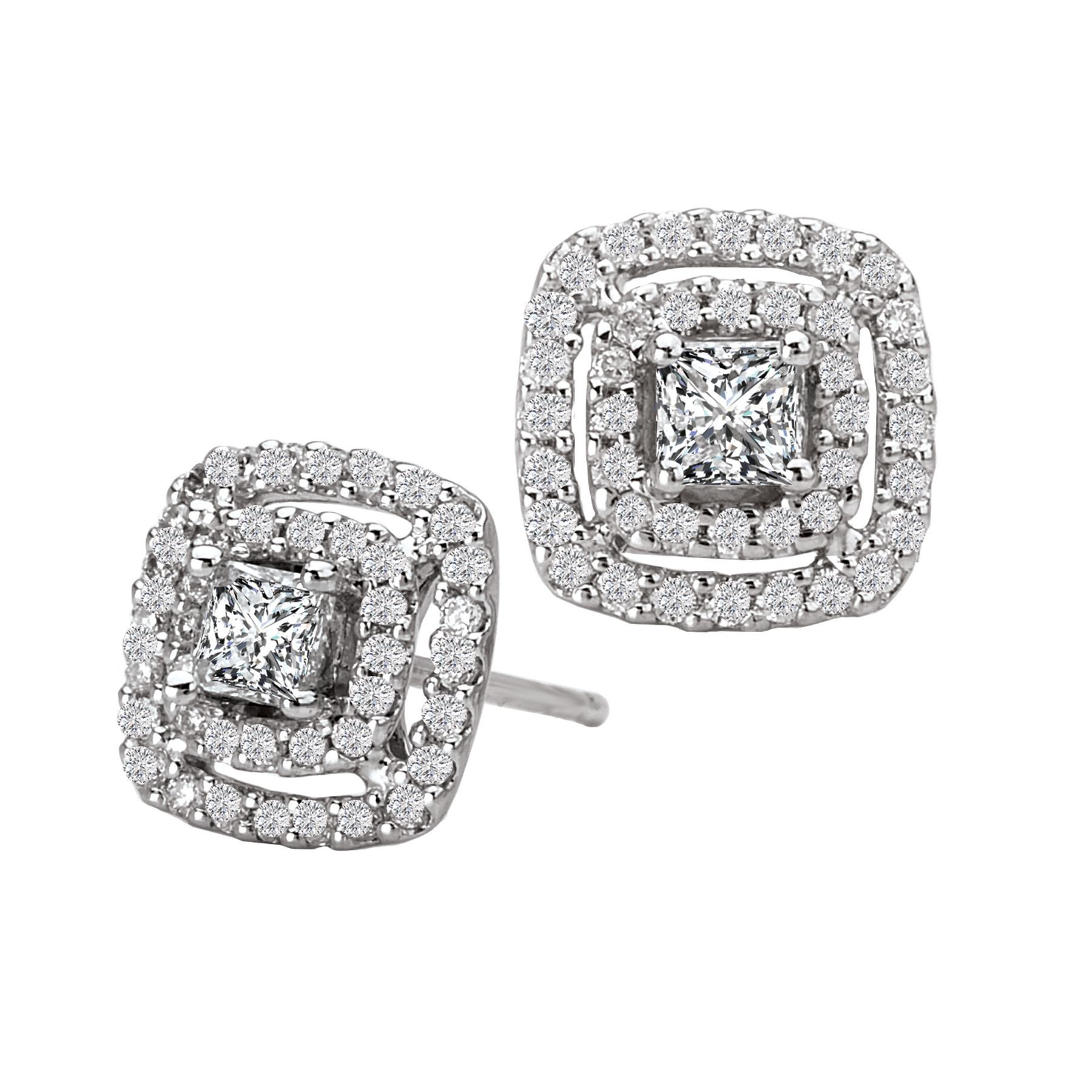 Diamond Princess Cut Halo Stud Earrings in 14K White Gold