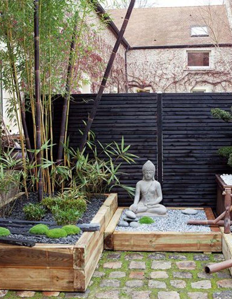Photo of Modern Gardens 21327 A Zen garden in red and black – Elle Décoration