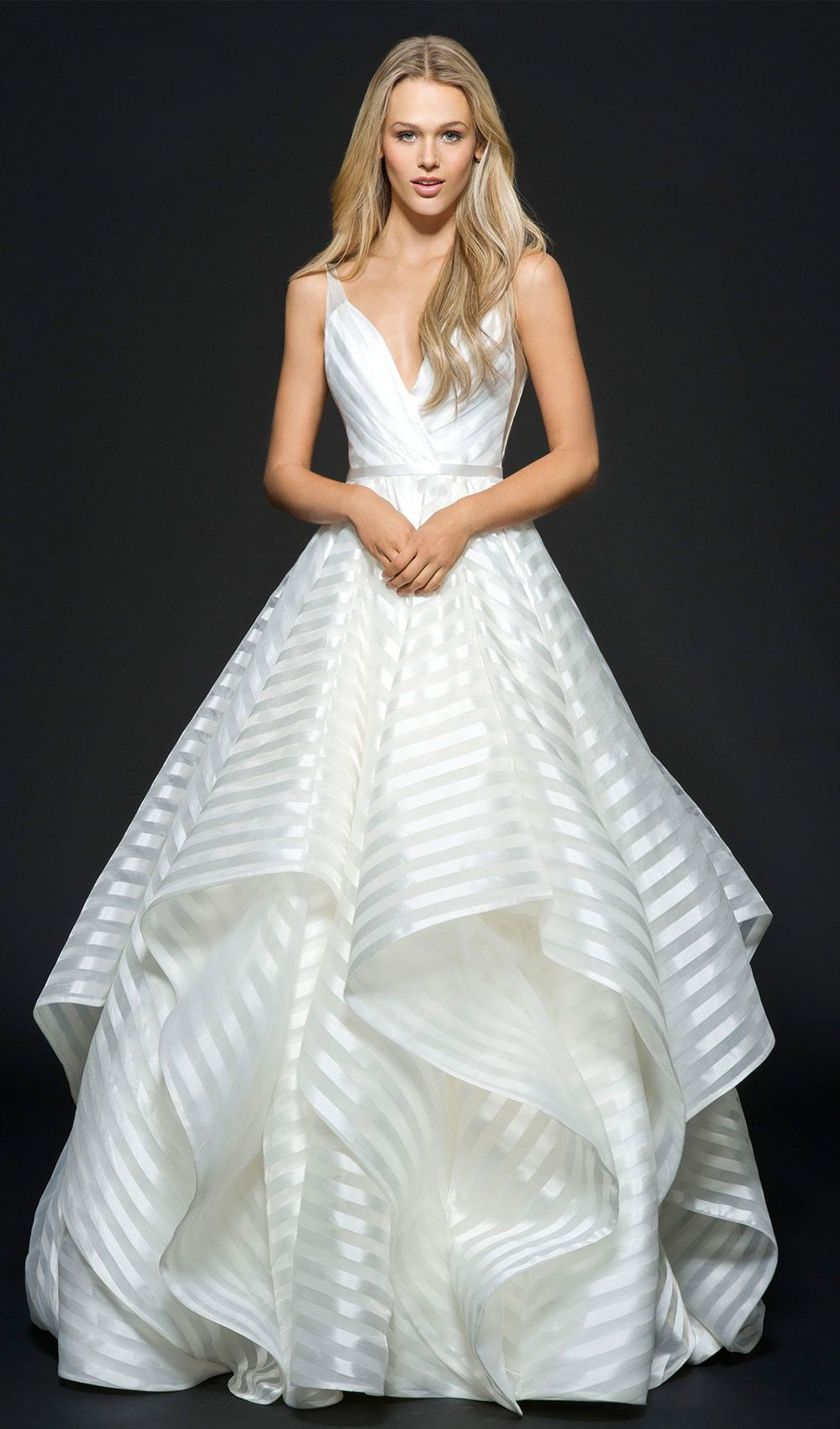 Try this ivory striped organza wedding dress, with curved V-neckline ...