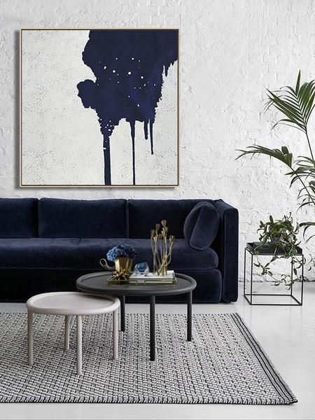 Navy And White Painting Nv11a Minimalist Living Room Living Room Art Living Room Decor