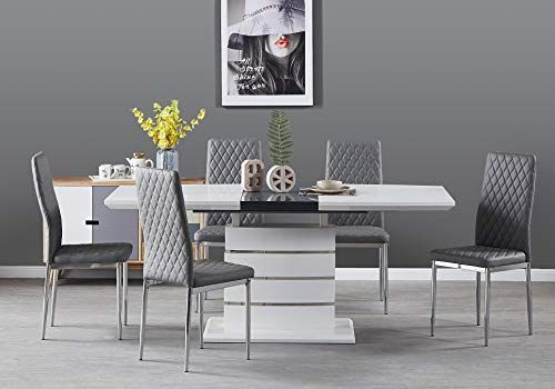 Furniturebox UK Renato Modern White Grey High Gloss Chrome Large Extending Dining Table And 6 8 Stylish Contemporary Milan Dining Kitchen Chairs Set (Table + 6 Grey Milan, Table + 6 Dining Chairs).NOTE - To see the prices and related stuff please visit the site.  #dinningtable#kitchenfurniture#kitchenfurnitureideas#kitchenideas#kitchenstuff#dinningset