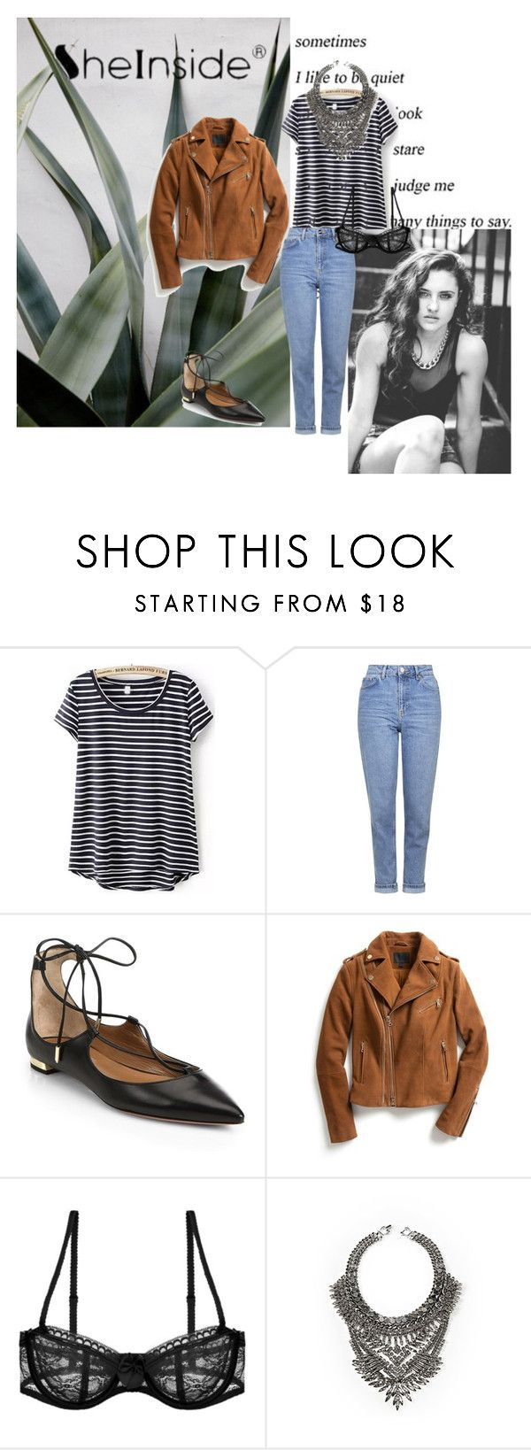 """""""Untitled #620"""" by ag18nese ❤ liked on Polyvore featuring Topshop, Aquazzura, Exclusive for Intermix, Passionata and DYLANLEX"""