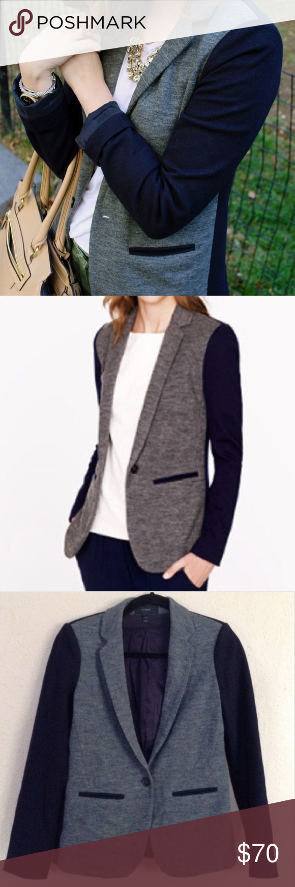 Spotted while shopping on Poshmark: J.Crew Gray & Navy Colorblock Slim Blazer! #poshmark #fashion #shopping #style #J. Crew #Jackets & Blazers