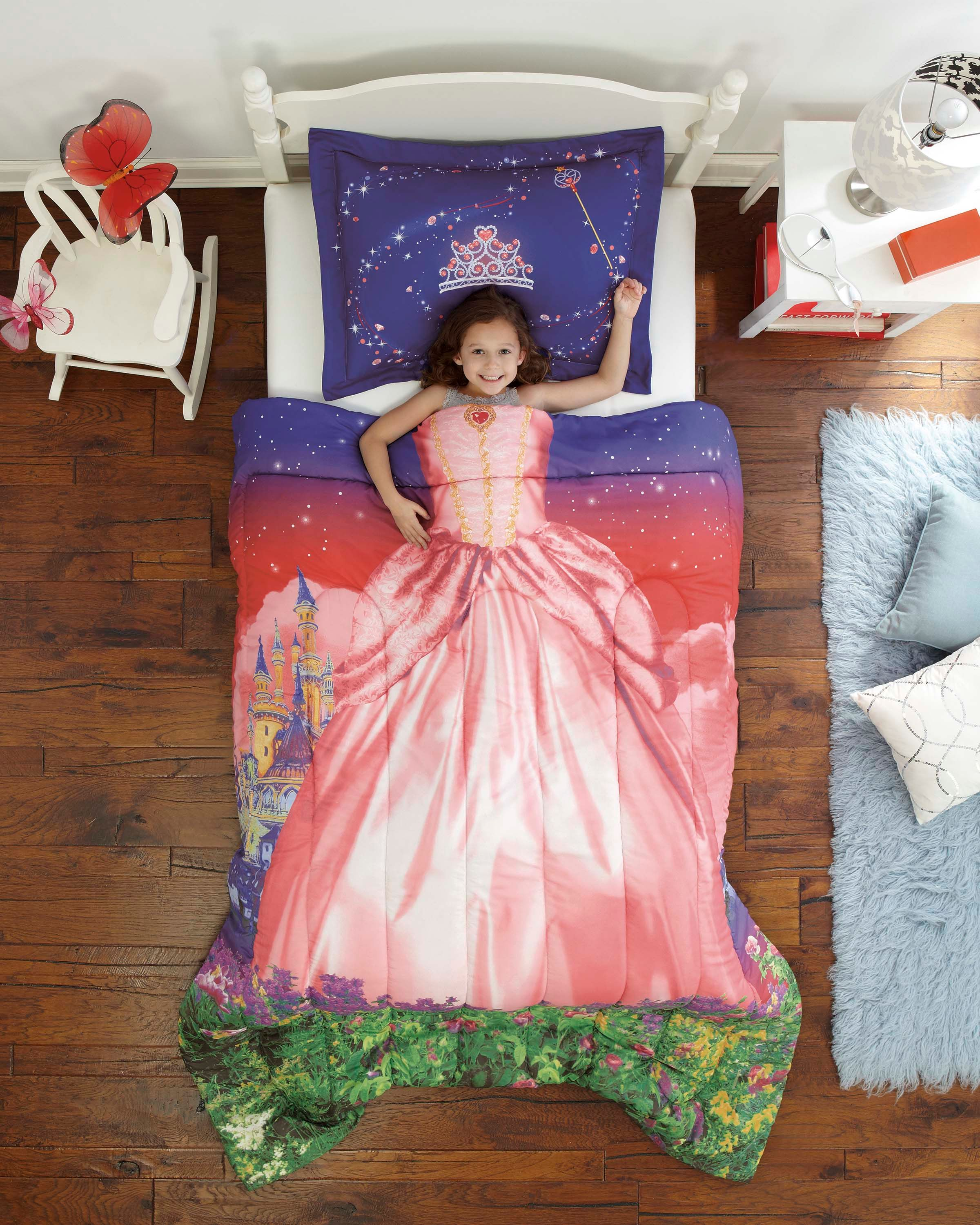 Pink & Purple Royal Princess Girls Bedding Twin or Full forter