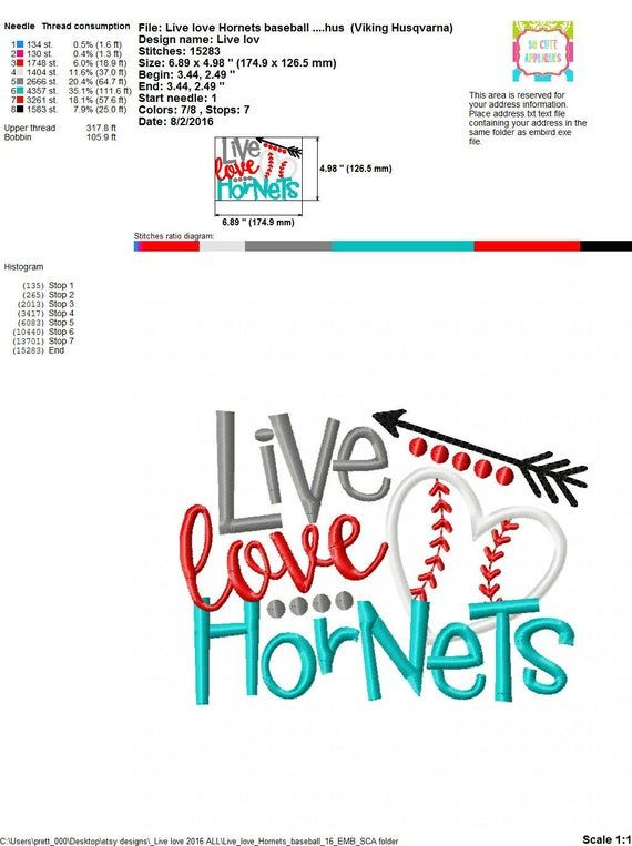 Download Embroidery design 5x7 6x10 Live love Hornets baseball ...
