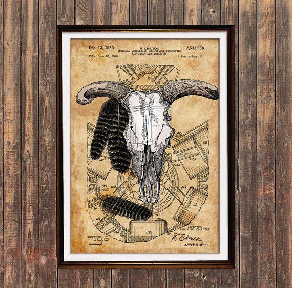 Bull Skull Print Anatomy Poster Steampunk Decor Patent Print