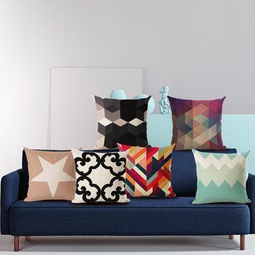 Geometr Printed Throw Pillowcase Linen Cotton Cushion Cover Creative Decoration for Sofa Car Covers