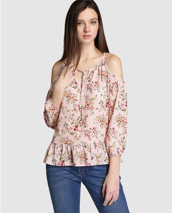 1ac06eeb5 Blusón de mujer Fórmula Joven rosa con estampado de flores | blusas ...
