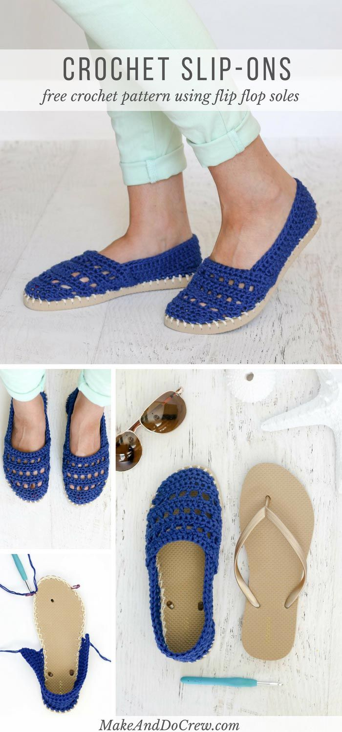 3be73b445673 These crochet slip-on shoes come together easily with cotton yarn and a  pair of flip flops. Wear them to cruise the boardwalk or when frolicking on  your ...