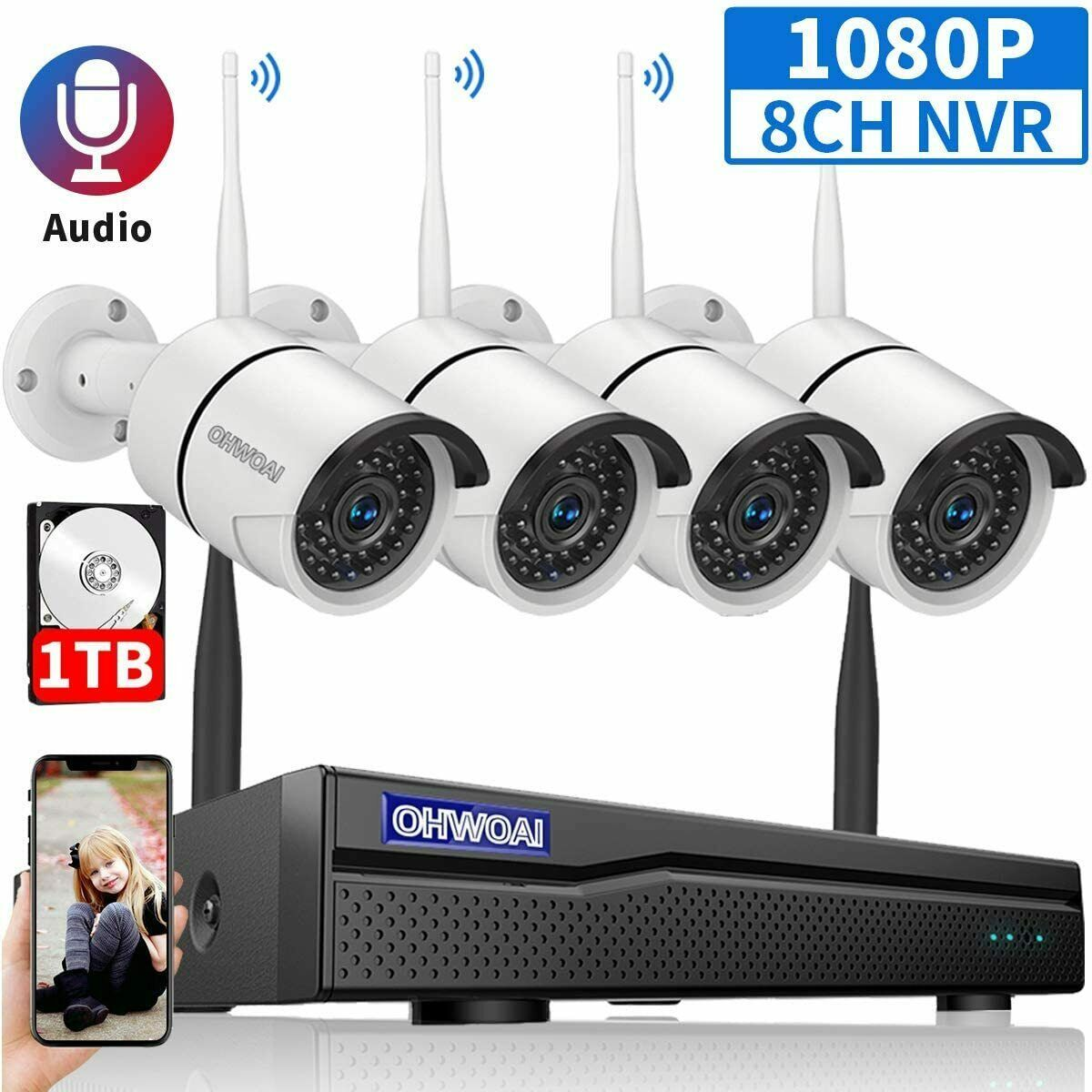 Security Camera System Wireless Outdoor 8 Channel 4pcs 1080p Cctv Cameras Home Security Security Cameras For Home Video Security System Cctv Camera For Home