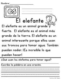 Crafty image within free printable spanish reading comprehension worksheets