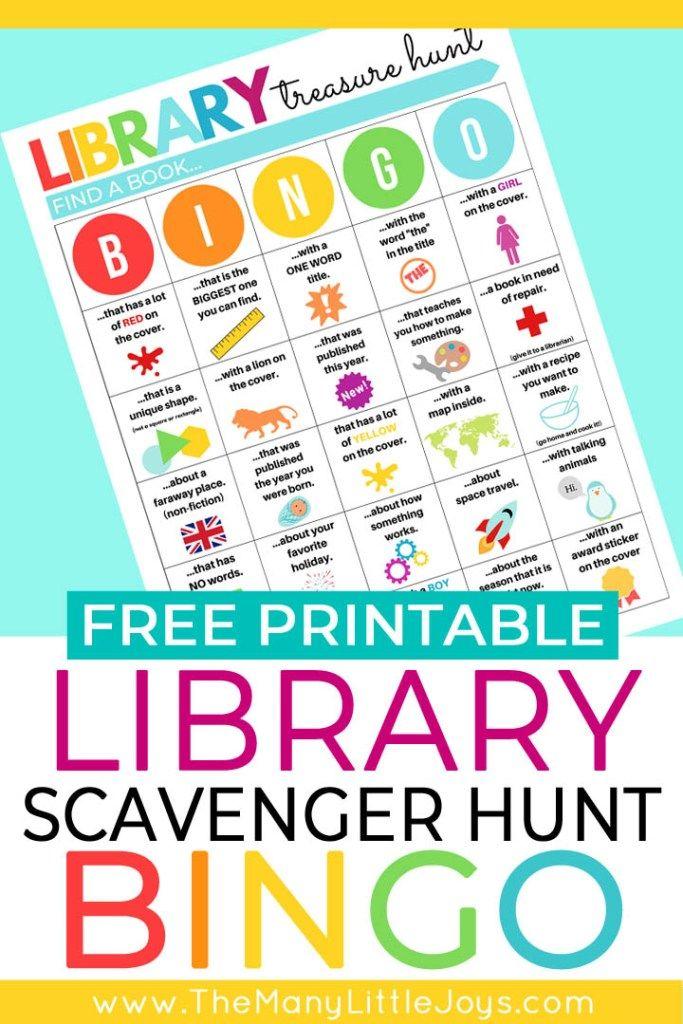 Library scavenger hunt for kids Part 2 BINGO version