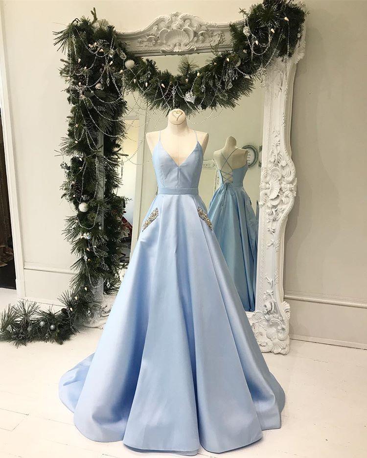 d76c79bd7c9e Princess Light Blue V-Neck Prom Dress with Pockets,Lace up back ...