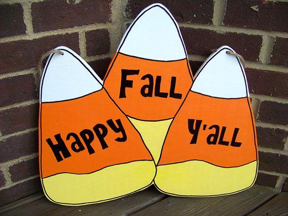 Fall / Halloween Decor: Happy Fall Y'all Wood Sign / Door Hanger; Fall Decor; Cute Halloween / Fal #happyfallyallwallpaper
