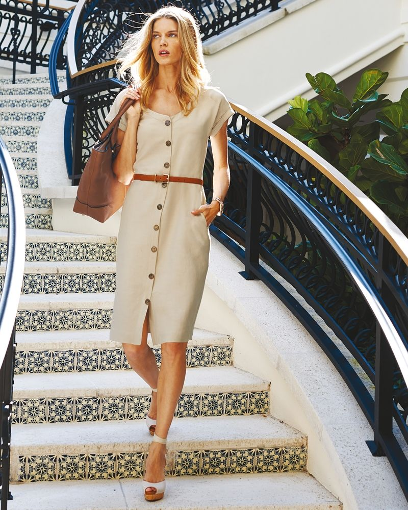 Silk Linen Button Through Dress Clothes For Women Over 50 Summer Outfits Women Summer Outfits Women Over 40 [ 1000 x 800 Pixel ]