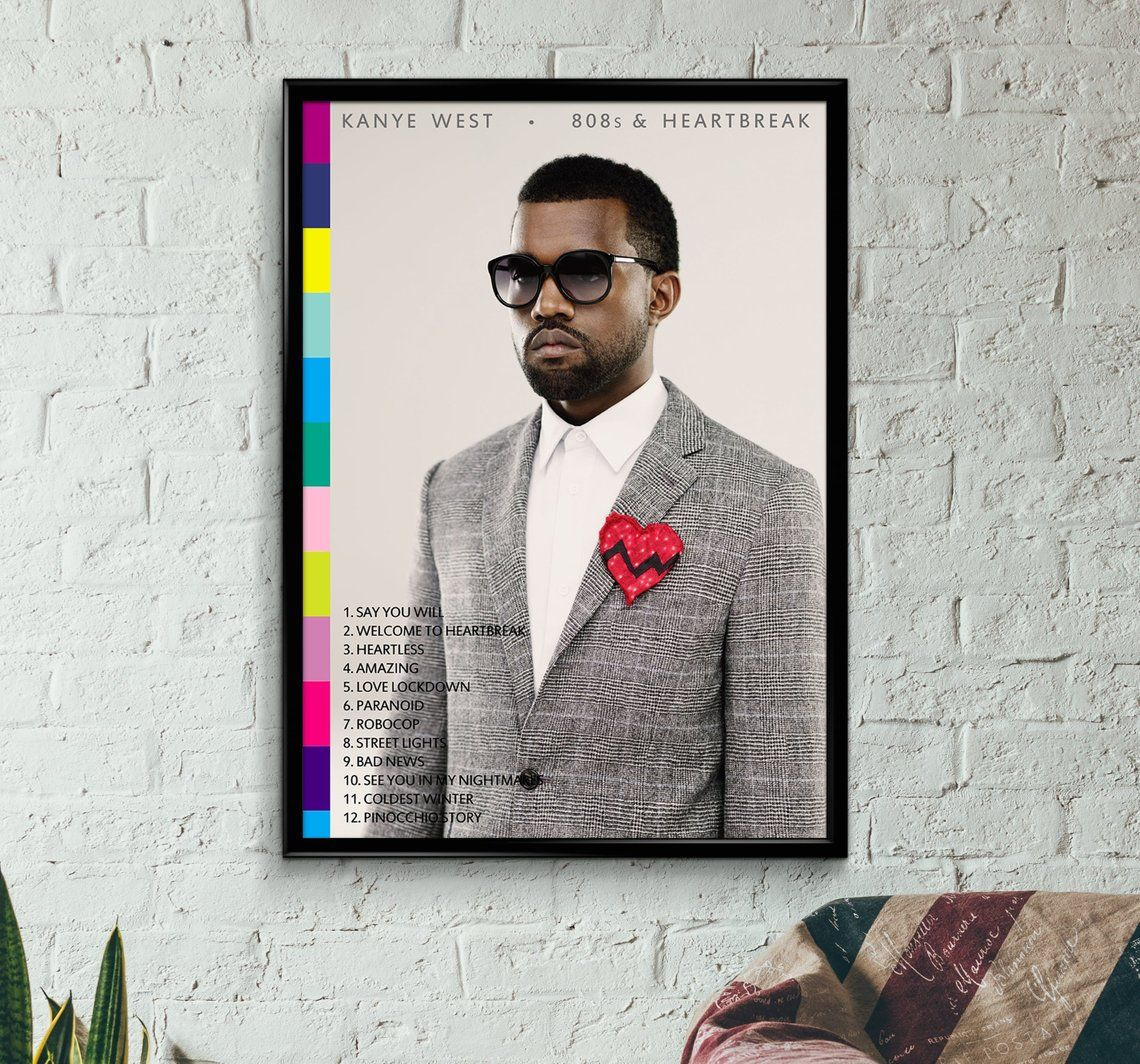 Kanye West Poster 90s 80s Rap Hip Hop Wall Art Print Tumblr Rapper Graduation College Drop Out Kid See Ghost 808s Heartbreak Kanye West Heartbreak