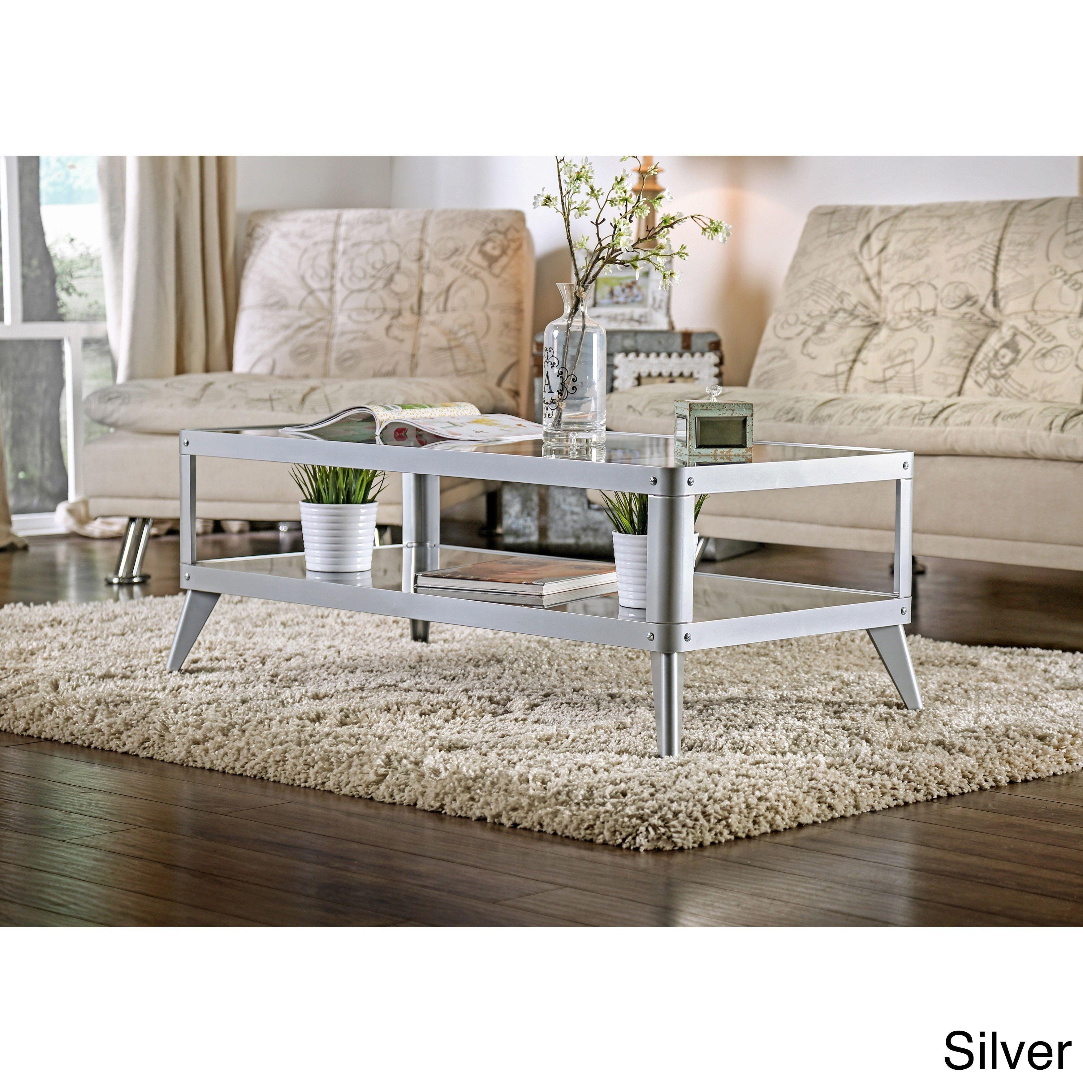 Furniture of America Linden Modern Glass Top Metal Coffee Table