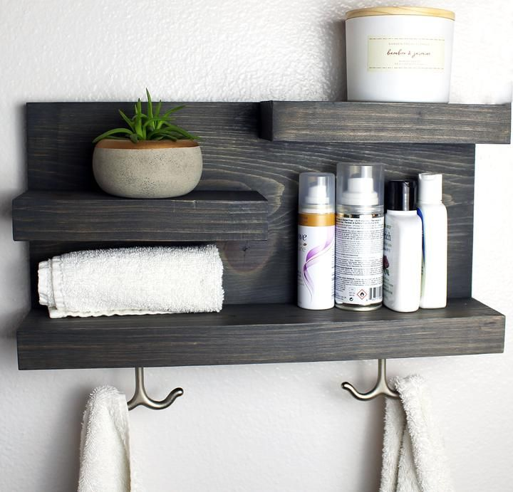 Shelf With Modern Towel Hooks