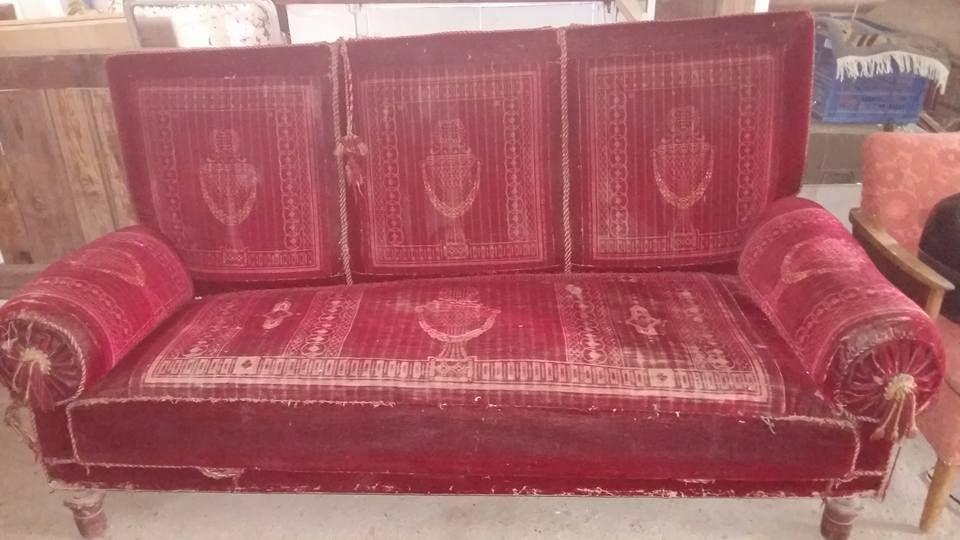 Sofa Couch Grunderzeit Antik Rot Restaurationsbedurftig Furniture