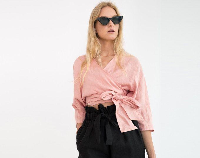 CLAIRE Linen wickeln oben / Leinen Wrap Bluse / Leinen Kimono Top ...