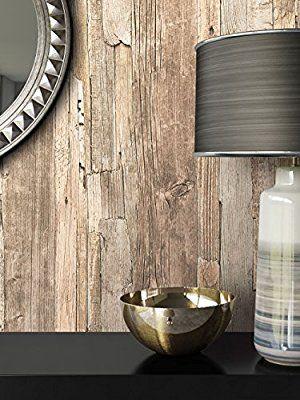 Holz Tapete Vliestapete Beige Braun Grau Edel , schöne edle Tapete - retro tapete wohnzimmer