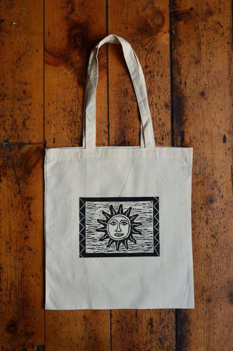 Hippie Sun print tote bag with celestial boho sun face design. Cotton Lino printed hippie tote bag #woodentotebag