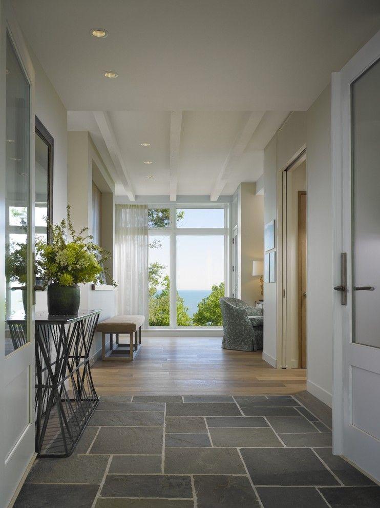 Tile To Hardwood Transition Gray Stone Tiles Sliding Glass Door Mid Century Modern Cream Bench White Trim Spectacular R Entryway Tile Foyer Design House Design