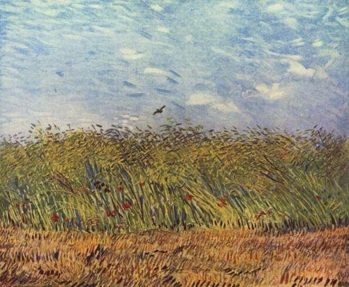 Landschaftsmalerei impressionismus  Vincent Willem van Gogh. Getreidefeld mit Mohnblumen und Lerche ...