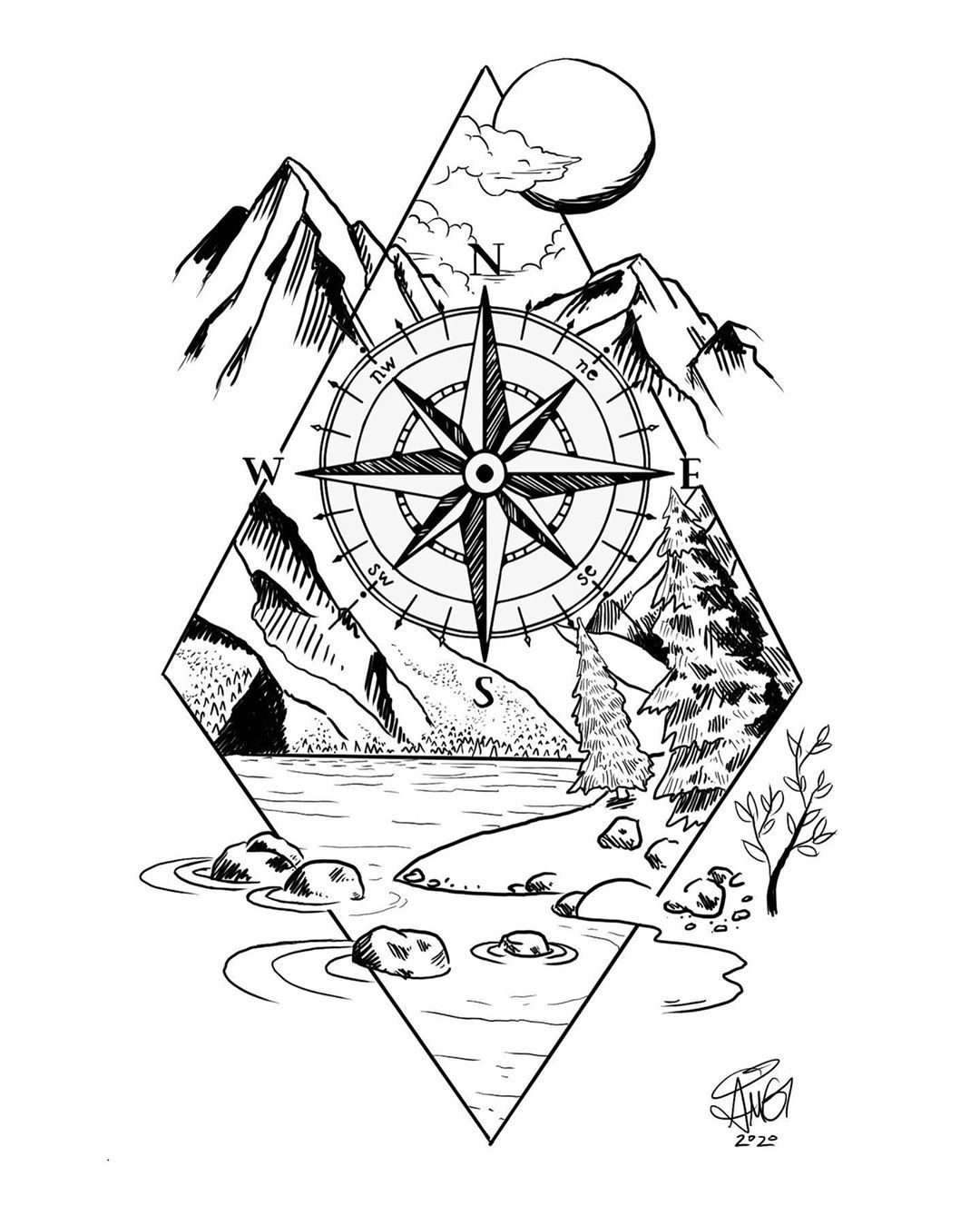 Another commissioned tattoo design. Do you have an idea that you'd like to see come to life? Contact me today!  #tattoo #tattoodesign #tattoosofig #tahoe #cali #outdoors #nature #mountains #compass #laketahoe #art #drawing #design #artwork #sketch #sketchbook #drawdaily #illustration