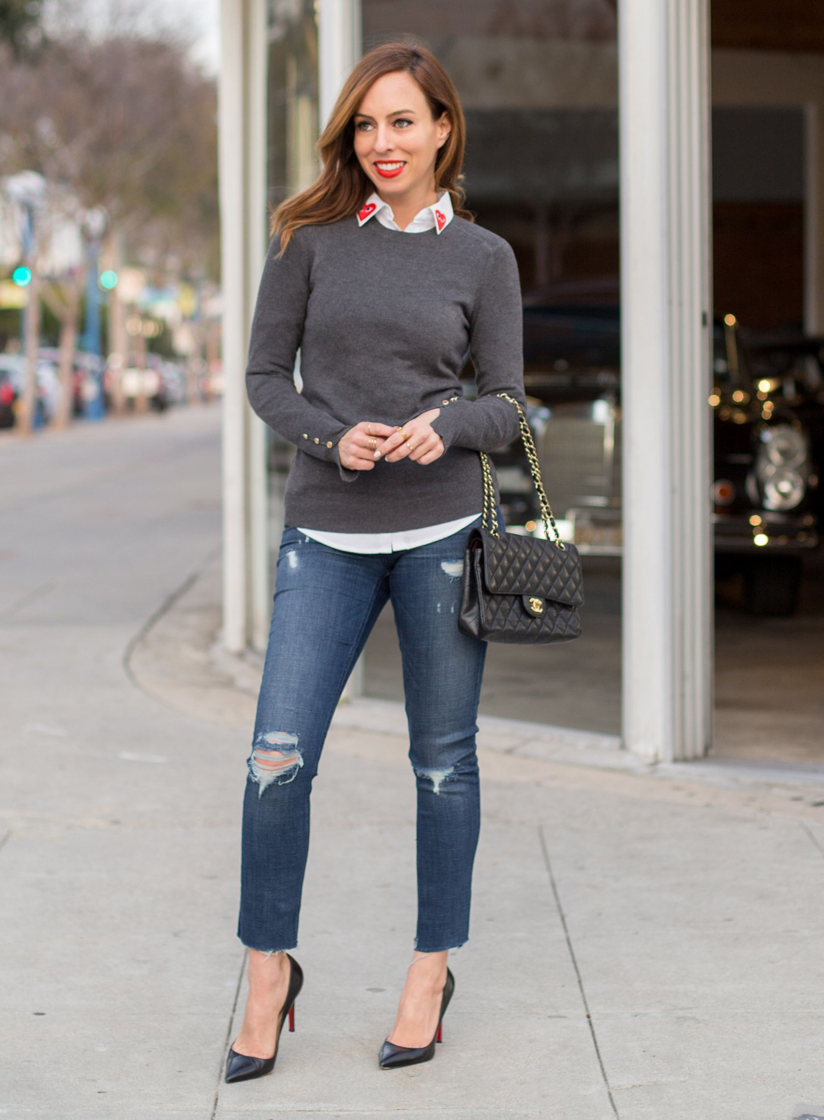 Sydne Style gives valentines day outfit ideas that aren t red in jeans and  a sweater  buttondownshirtoutfitideas 0ef0919121