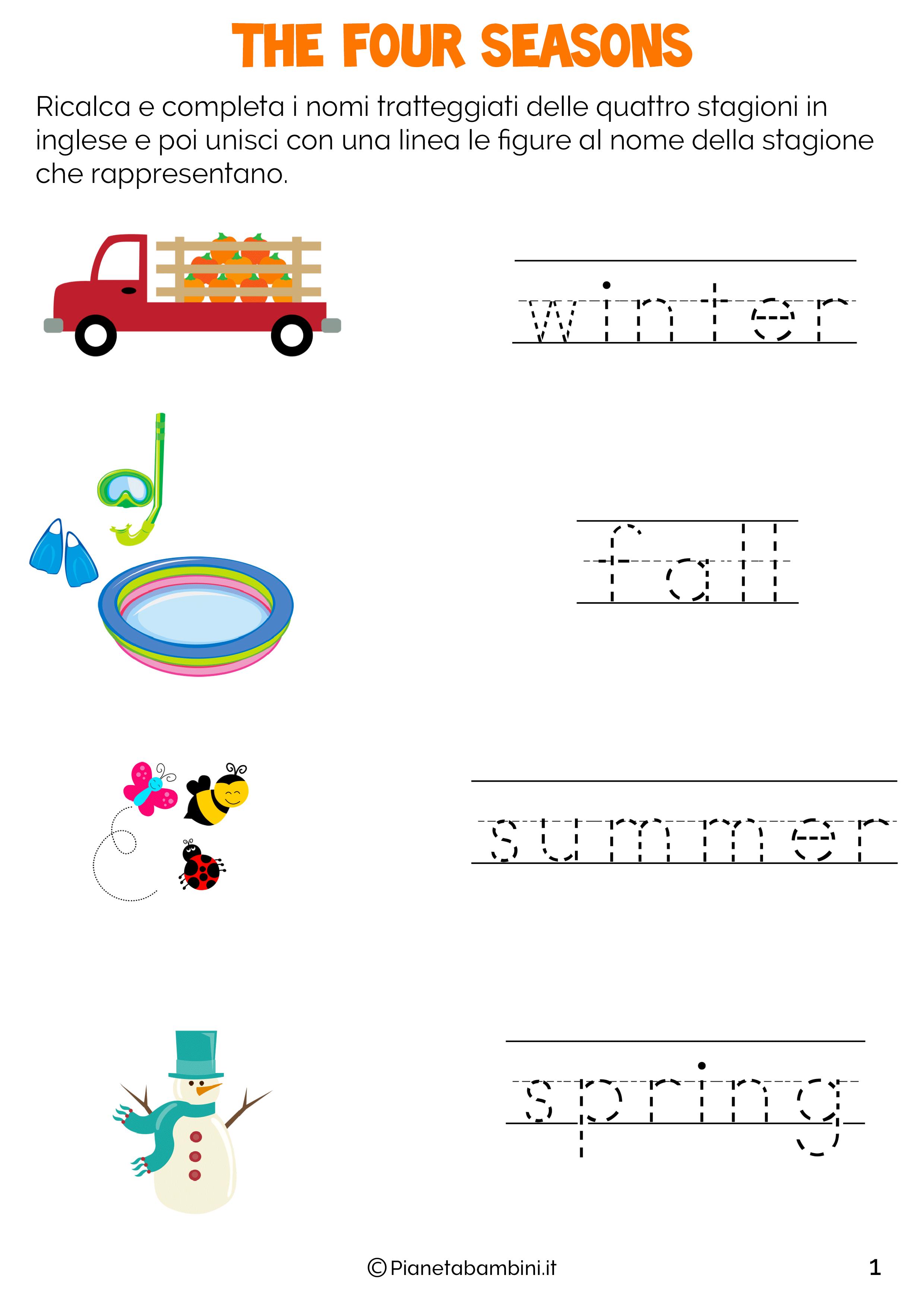Le Stagioni In Inglese Per Bambini Schede Didattiche Da Stampare