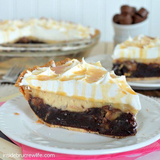 Salted Caramel Brownie Cheesecake Pie - three layers of salted caramel goodness in one brownie pie www.insidebrucrewlife.com
