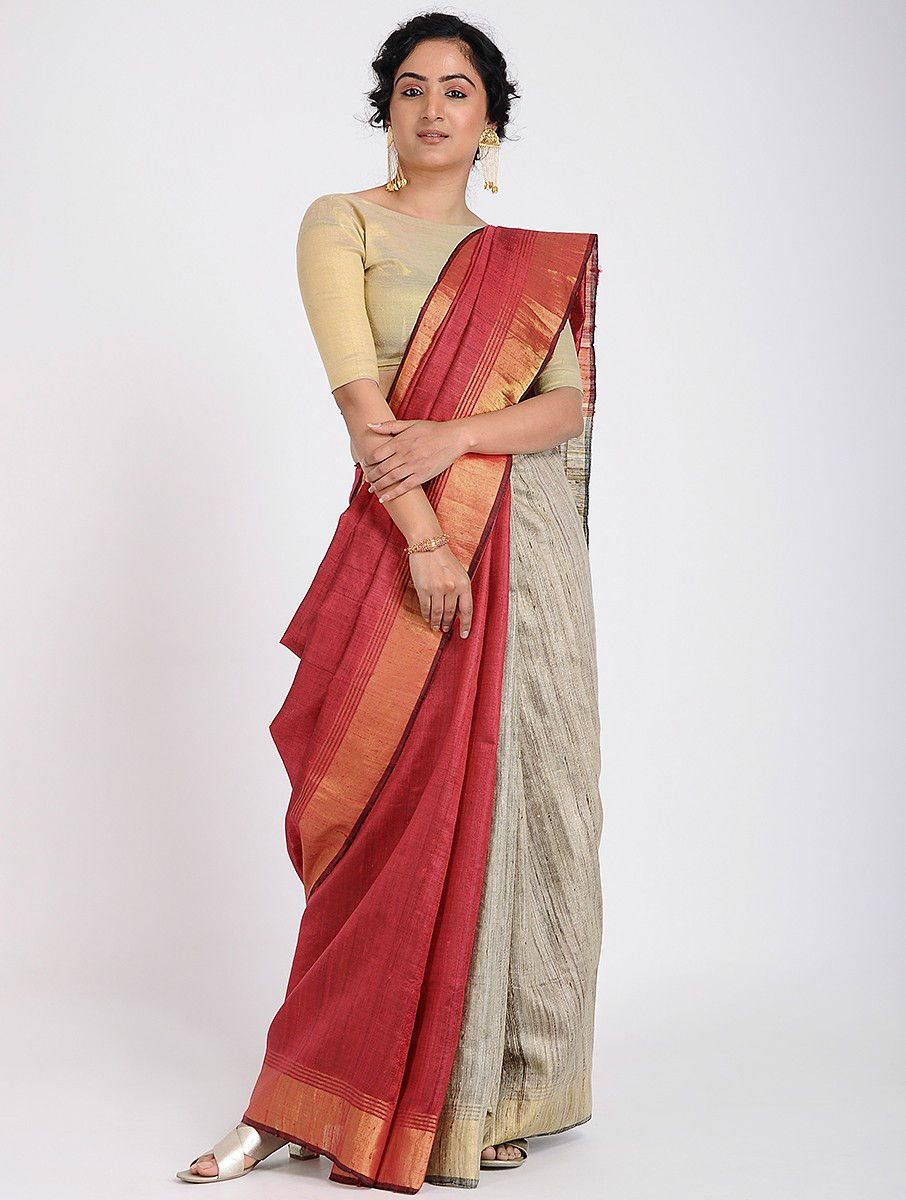 d3f42576cf Buy Red Beige Tussar Silk Saree with Zari Sarees Woven Tales Eastern  elegance in a tasteful colour palette Online at Jaypore.com
