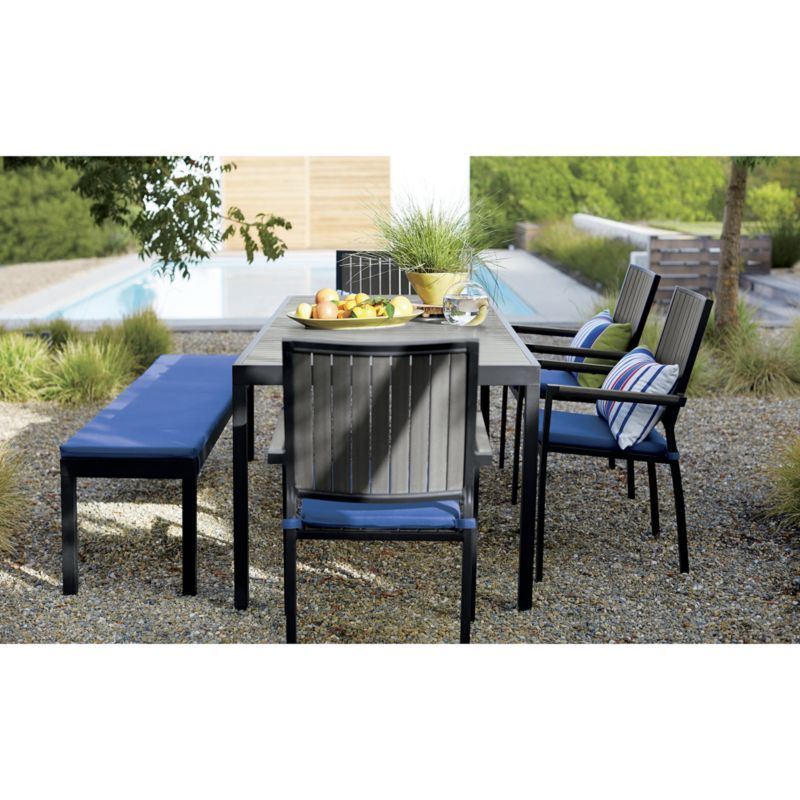 Alfresco Grey Dining Chair With Sunbrella Cushion Rectangular Dining Table Outdoor Dining Table Gray Dining Chairs