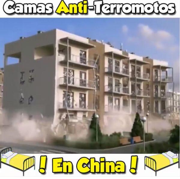 En vídeo cama anti terremoto que han inventado en China